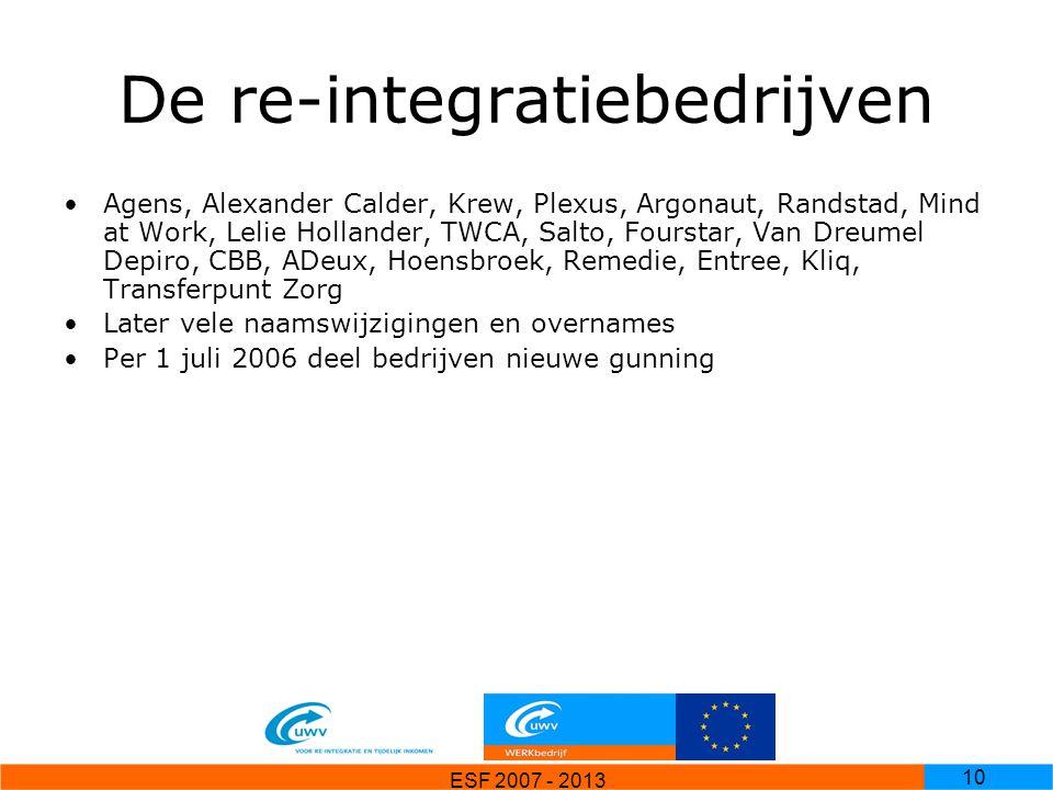 ESF 2007 - 2013 10 De re-integratiebedrijven Agens, Alexander Calder, Krew, Plexus, Argonaut, Randstad, Mind at Work, Lelie Hollander, TWCA, Salto, Fo