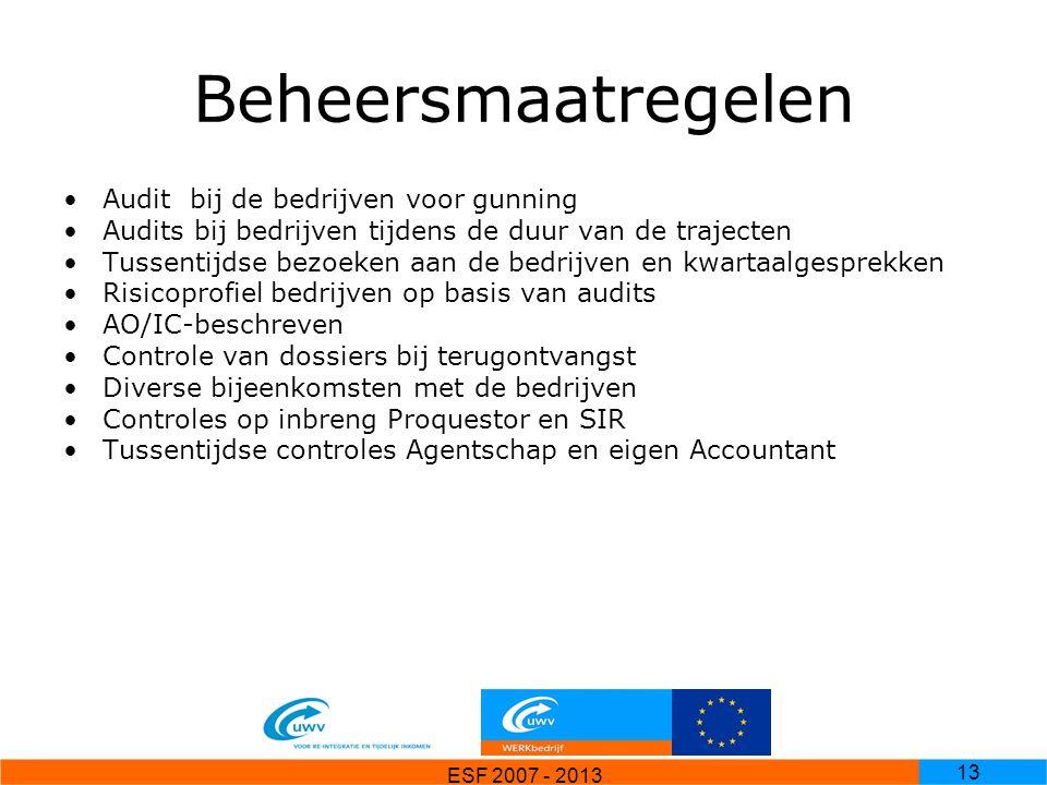 ESF 2007 - 2013 13 Beheersmaatregelen Audit bij de bedrijven voor gunning Audits bij bedrijven tijdens de duur van de trajecten Tussentijdse bezoeken