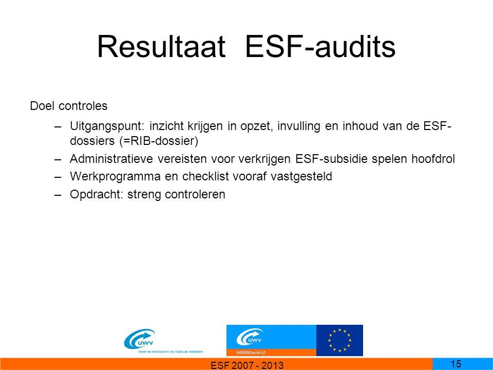 ESF 2007 - 2013 15 ResultaatESF-audits Doel controles –Uitgangspunt: inzicht krijgen in opzet, invulling en inhoud van de ESF- dossiers (=RIB-dossier)