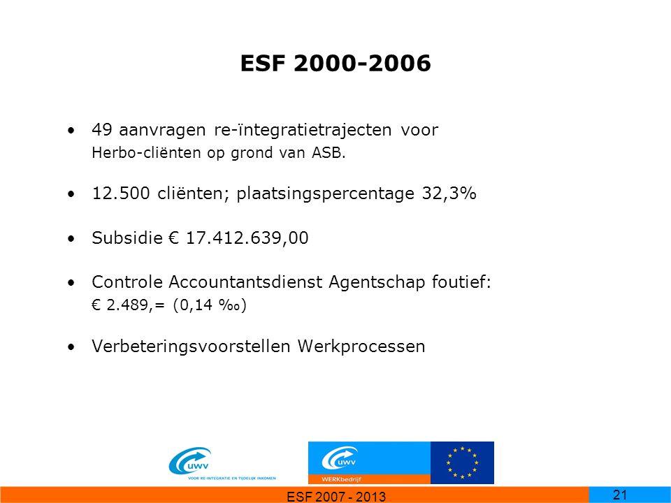 ESF 2007 - 2013 21 ESF 2000-2006 49 aanvragen re-ïntegratietrajecten voor Herbo-cliënten op grond van ASB. 12.500 cliënten; plaatsingspercentage 32,3%
