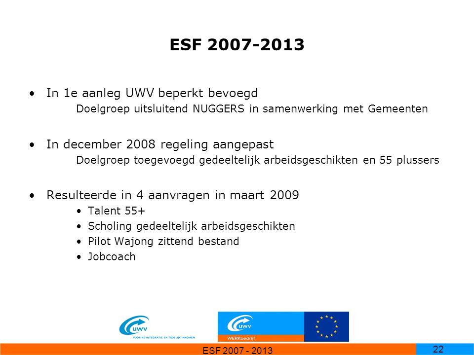 ESF 2007 - 2013 22 ESF 2007-2013 In 1e aanleg UWV beperkt bevoegd Doelgroep uitsluitend NUGGERS in samenwerking met Gemeenten In december 2008 regelin