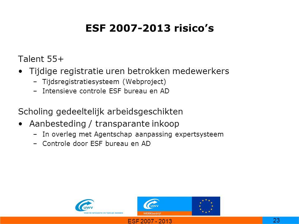 ESF 2007 - 2013 23 ESF 2007-2013 risico's Talent 55+ Tijdige registratie uren betrokken medewerkers –Tijdsregistratiesysteem (Webproject) –Intensieve