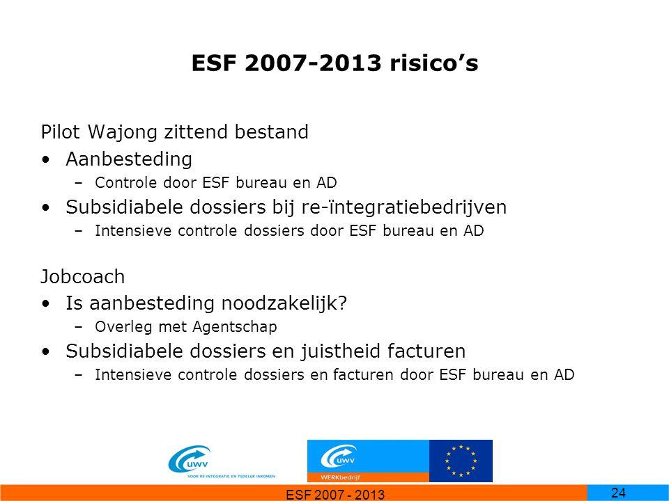 ESF 2007 - 2013 24 ESF 2007-2013 risico's Pilot Wajong zittend bestand Aanbesteding –Controle door ESF bureau en AD Subsidiabele dossiers bij re-ïnteg