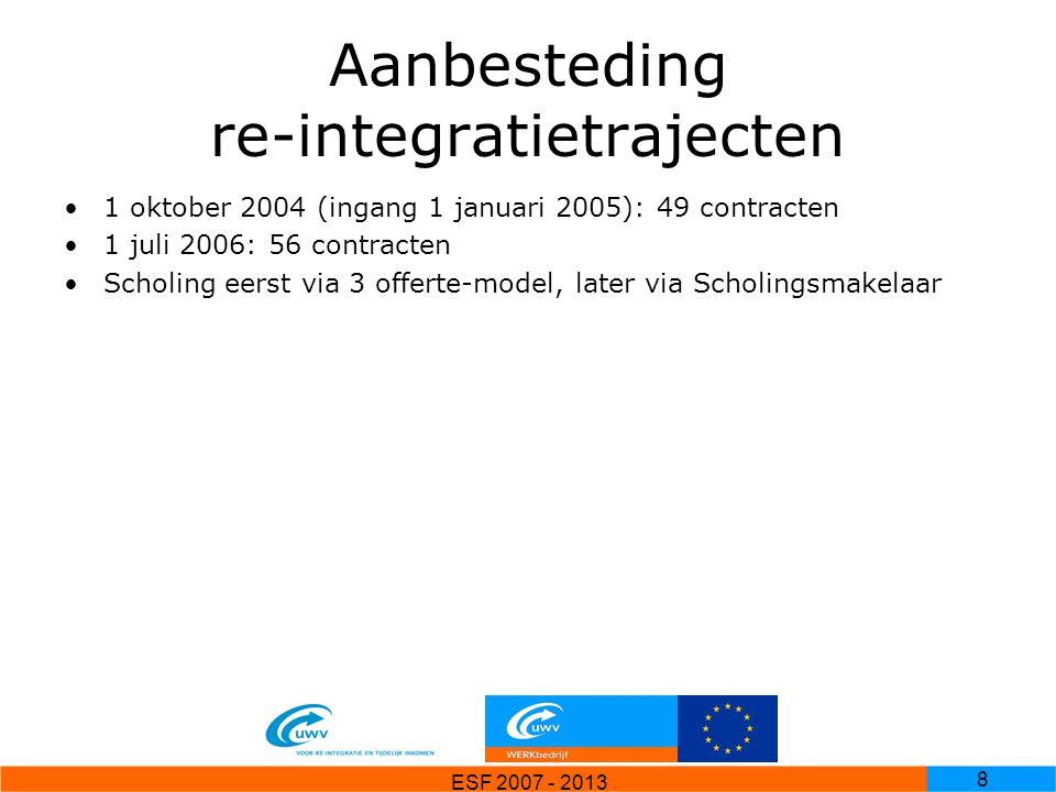 ESF 2007 - 2013 9 ESF-aanvragen 51 aanvragen (per re-integratiebedrijf per regio) Totaal ruim 58 Miljoen Euro subsidie gevraagd Eind 2006 herbeschikt naar ruim 38 miljoen euro UWV gebruikt apart systeem (Proquestor) voor ESF-administratie, koppeling met primaire UWV-systeem SIR Betalingen via Peoplesoft, inlezen betalingen achteraf