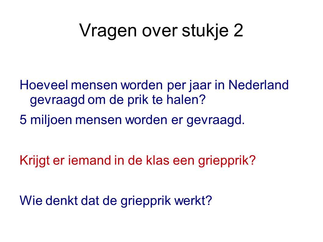 Vragen over stukje 2 Hoeveel mensen worden per jaar in Nederland gevraagd om de prik te halen? 5 miljoen mensen worden er gevraagd. Krijgt er iemand i