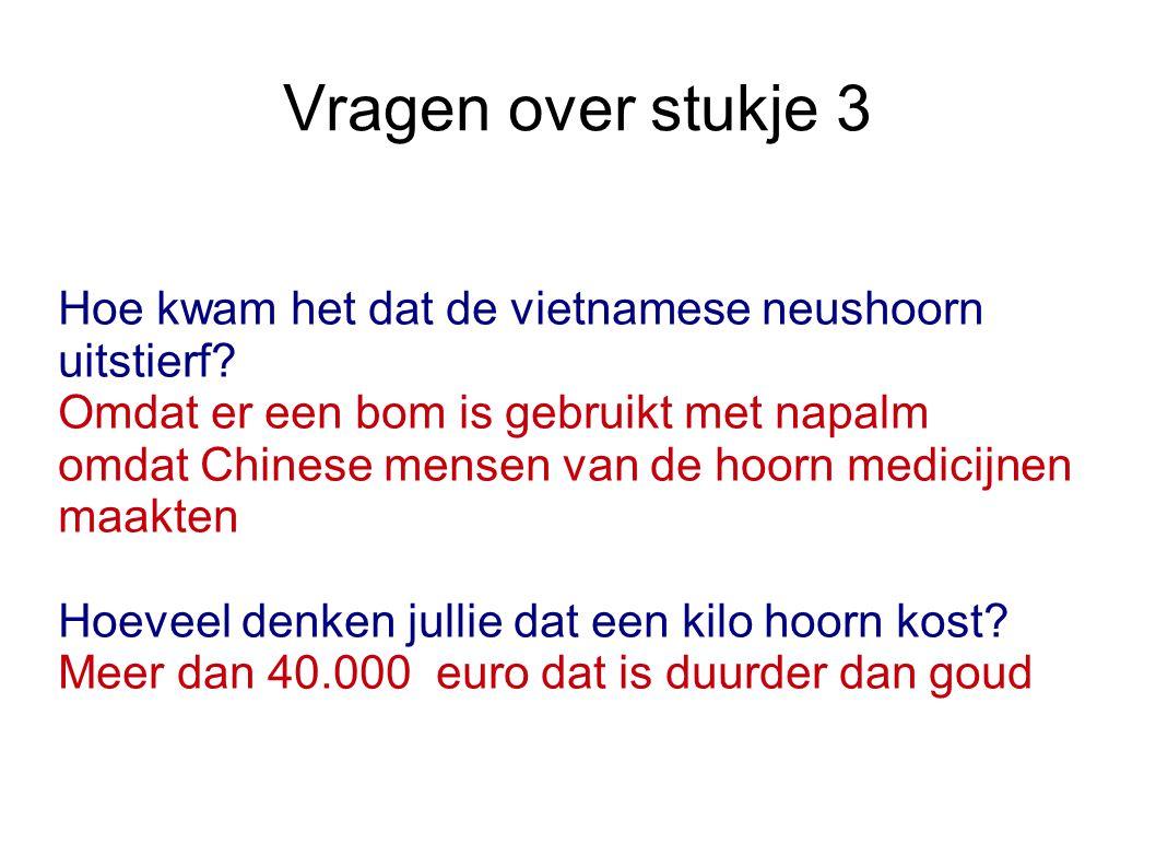 Vragen over stukje 3 Hoe kwam het dat de vietnamese neushoorn uitstierf? Omdat er een bom is gebruikt met napalm omdat Chinese mensen van de hoorn med
