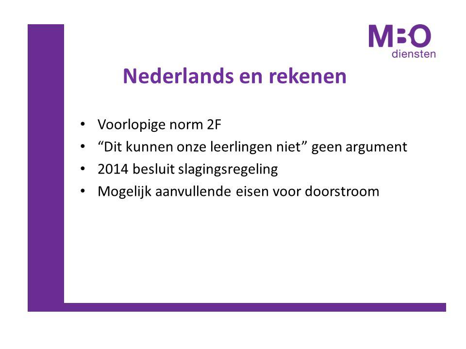 """Nederlands en rekenen Voorlopige norm 2F """"Dit kunnen onze leerlingen niet"""" geen argument 2014 besluit slagingsregeling Mogelijk aanvullende eisen voor"""