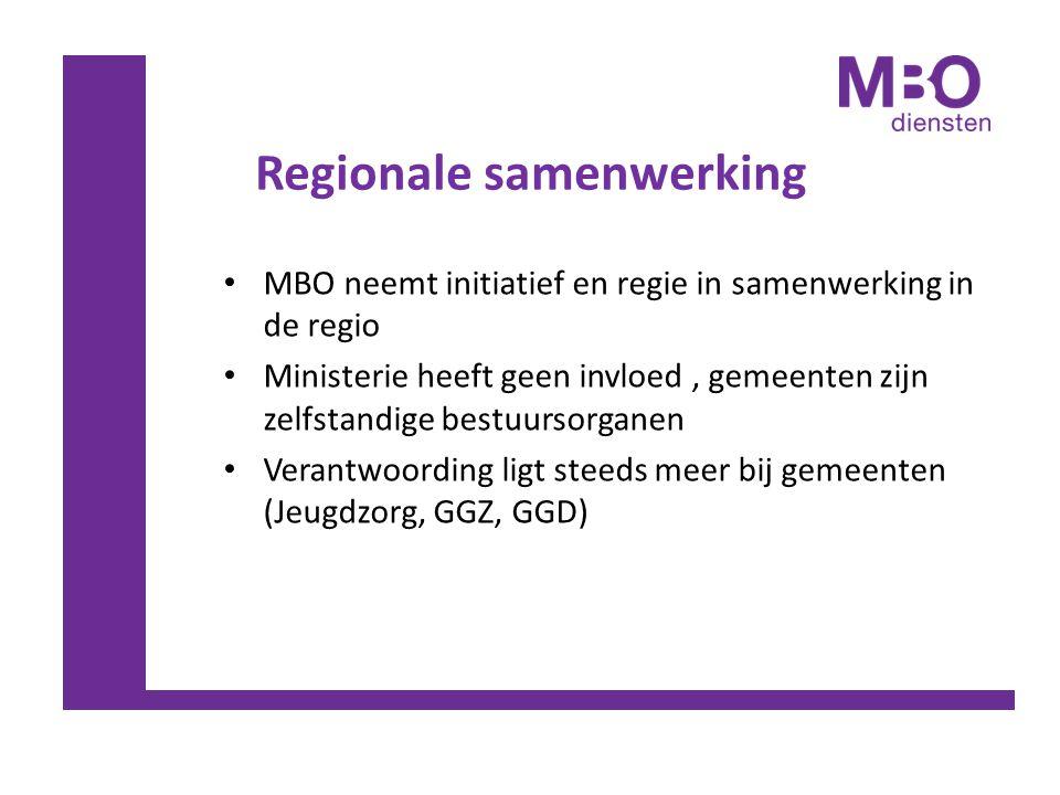 Regionale samenwerking MBO neemt initiatief en regie in samenwerking in de regio Ministerie heeft geen invloed, gemeenten zijn zelfstandige bestuursor