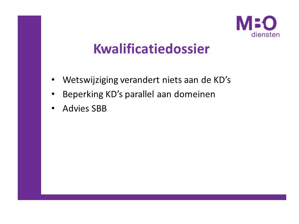 Kwalificatiedossier Wetswijziging verandert niets aan de KD's Beperking KD's parallel aan domeinen Advies SBB