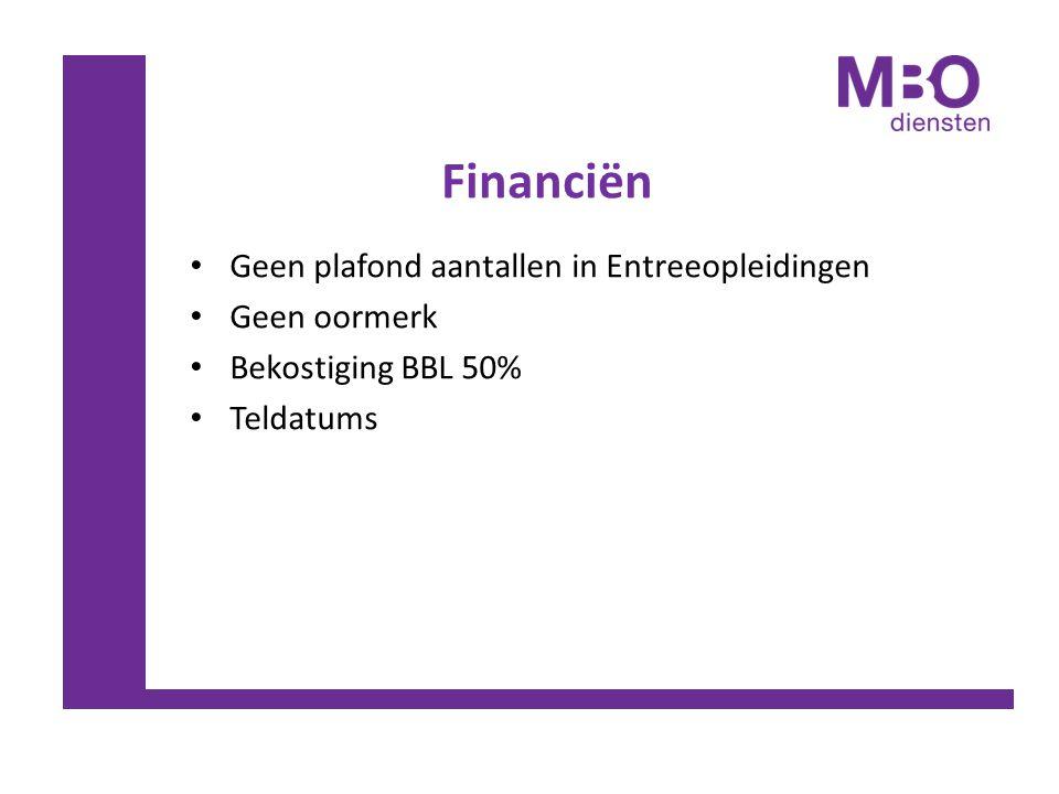 Financiën Geen plafond aantallen in Entreeopleidingen Geen oormerk Bekostiging BBL 50% Teldatums