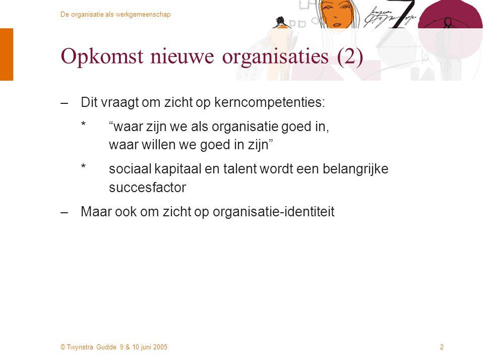 © Twynstra Gudde 9 & 10 juni 2005 De organisatie als werkgemeenschap 2 Opkomst nieuwe organisaties (2) –Dit vraagt om zicht op kerncompetenties: * waar zijn we als organisatie goed in, waar willen we goed in zijn *sociaal kapitaal en talent wordt een belangrijke succesfactor –Maar ook om zicht op organisatie-identiteit