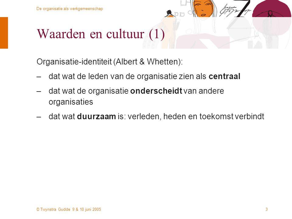 © Twynstra Gudde 9 & 10 juni 2005 De organisatie als werkgemeenschap 3 Waarden en cultuur (1) Organisatie-identiteit (Albert & Whetten): –dat wat de leden van de organisatie zien als centraal –dat wat de organisatie onderscheidt van andere organisaties –dat wat duurzaam is: verleden, heden en toekomst verbindt