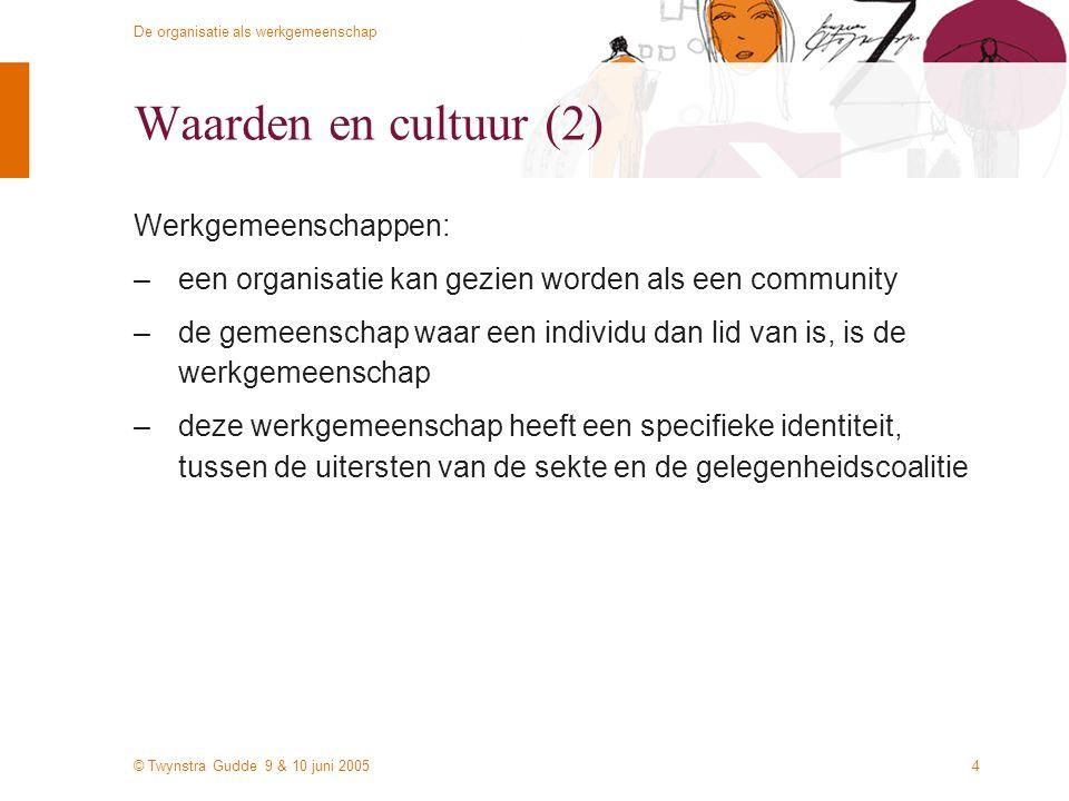 © Twynstra Gudde 9 & 10 juni 2005 De organisatie als werkgemeenschap 4 Waarden en cultuur (2) Werkgemeenschappen: –een organisatie kan gezien worden als een community –de gemeenschap waar een individu dan lid van is, is de werkgemeenschap –deze werkgemeenschap heeft een specifieke identiteit, tussen de uitersten van de sekte en de gelegenheidscoalitie