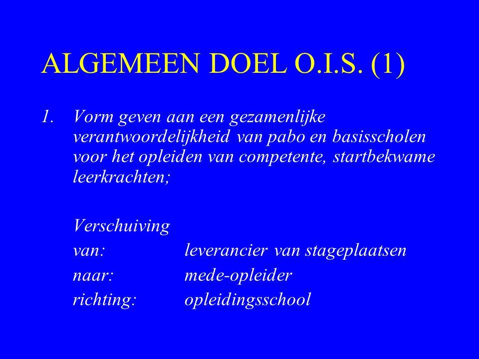 ALGEMEEN DOEL O.I.S. (1) 1.Vorm geven aan een gezamenlijke verantwoordelijkheid van pabo en basisscholen voor het opleiden van competente, startbekwam