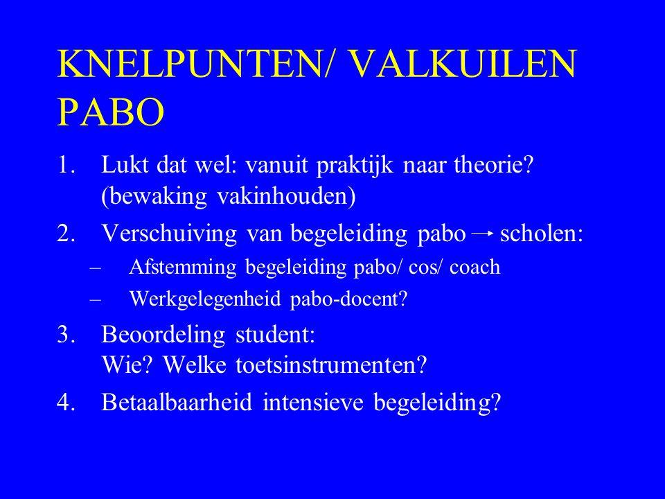KNELPUNTEN/ VALKUILEN PABO 1.Lukt dat wel: vanuit praktijk naar theorie? (bewaking vakinhouden) 2.Verschuiving van begeleiding pabo scholen: –Afstemmi