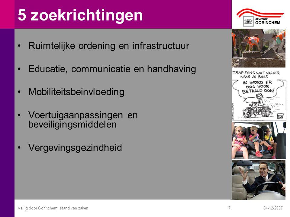 04-12-2007Veilig door Gorinchem, stand van zaken7 5 zoekrichtingen Ruimtelijke ordening en infrastructuur Educatie, communicatie en handhaving Mobiliteitsbeinvloeding Voertuigaanpassingen en beveiligingsmiddelen Vergevingsgezindheid