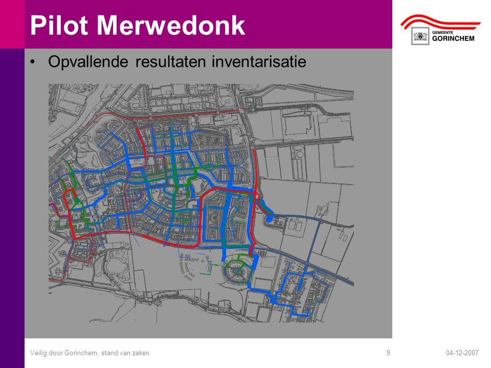 04-12-2007Veilig door Gorinchem, stand van zaken10 Pilot Merwedonk Waar moeten en worden wel of geen oplossingen voor getroffen –Ruimtelijke ordening en Infrastructuur Weghalen pijnpunten voor fiets en voetganger