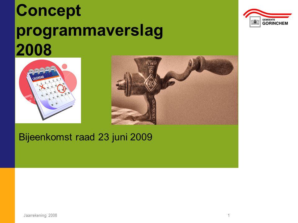 Jaarrekening 20081 Concept programmaverslag 2008 Bijeenkomst raad 23 juni 2009