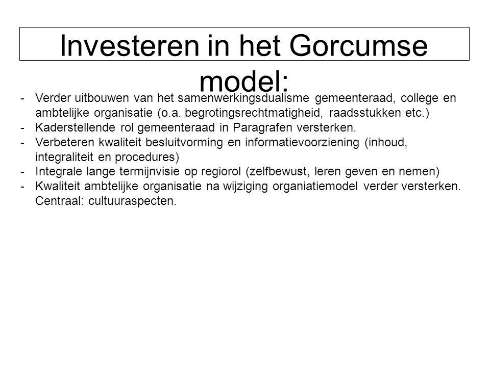 Investeren in het Gorcumse model: -Verder uitbouwen van het samenwerkingsdualisme gemeenteraad, college en ambtelijke organisatie (o.a. begrotingsrech