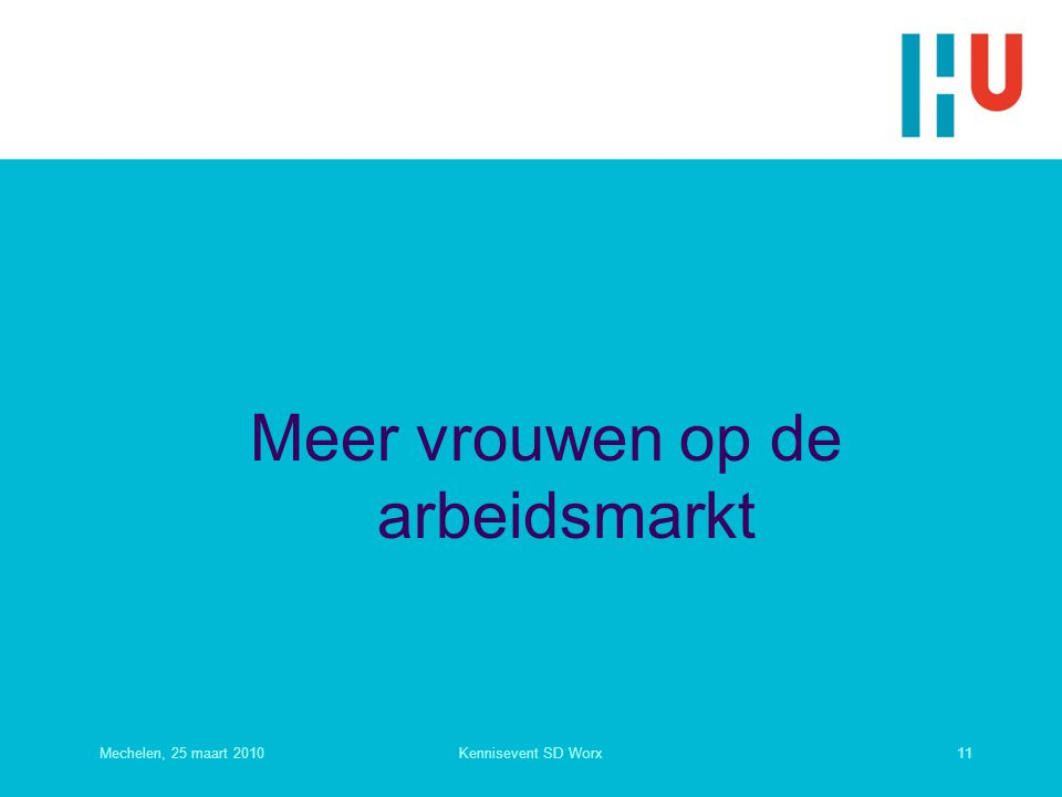 Meer vrouwen op de arbeidsmarkt Mechelen, 25 maart 201011Kennisevent SD Worx