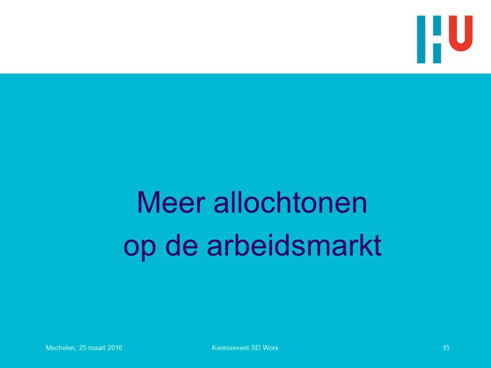 Meer allochtonen op de arbeidsmarkt Mechelen, 25 maart 201015Kennisevent SD Worx