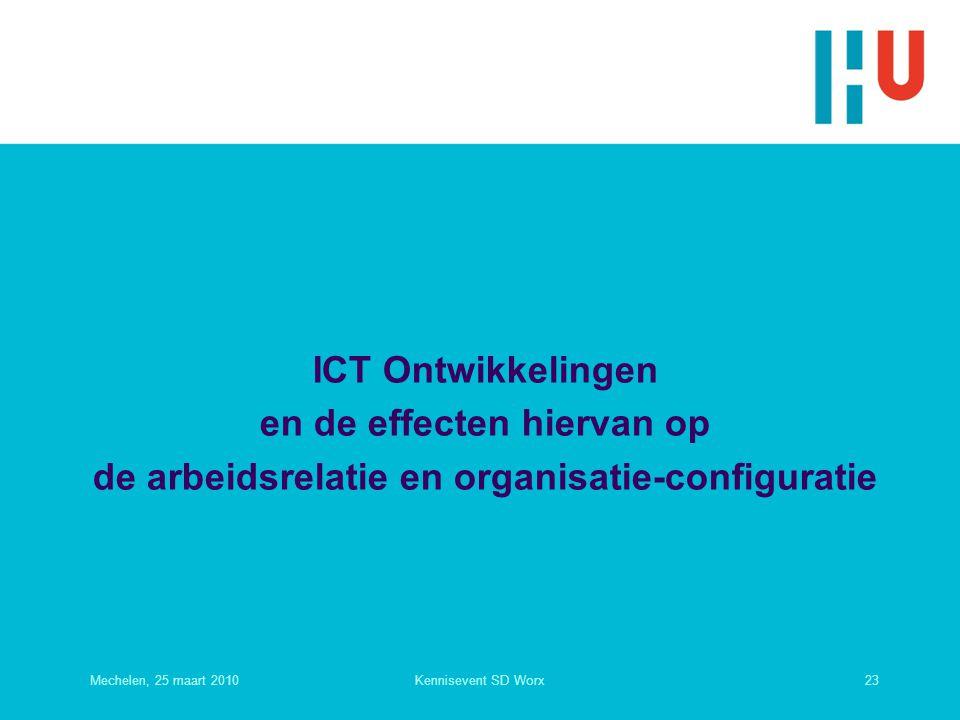 ICT Ontwikkelingen en de effecten hiervan op de arbeidsrelatie en organisatie-configuratie Mechelen, 25 maart 201023Kennisevent SD Worx