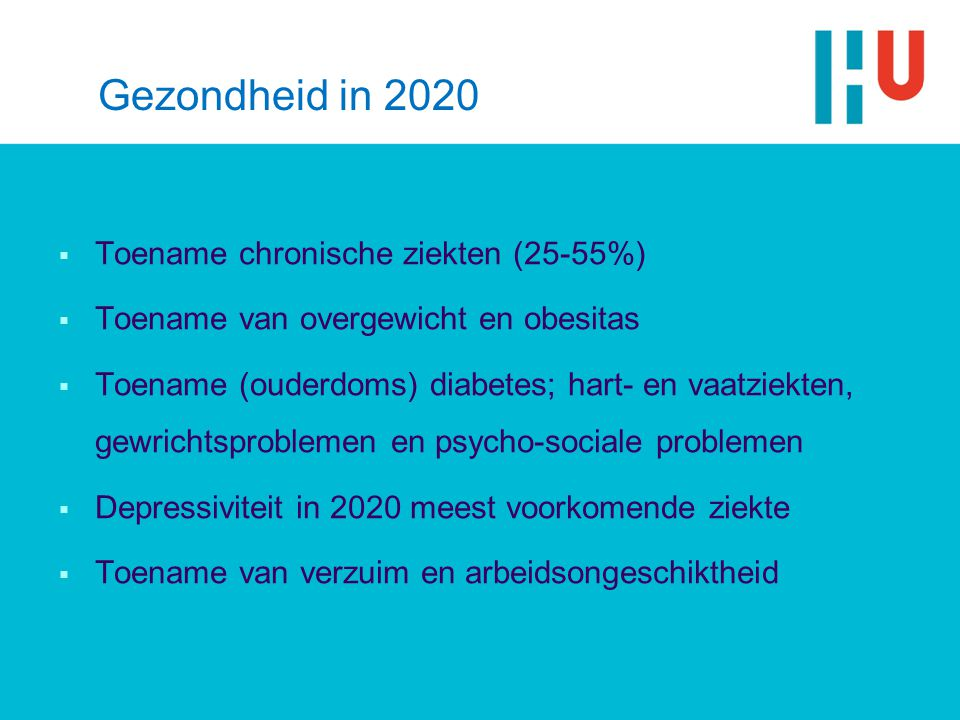 Gezondheid in 2020  Toename chronische ziekten (25-55%)  Toename van overgewicht en obesitas  Toename (ouderdoms) diabetes; hart- en vaatziekten, gewrichtsproblemen en psycho-sociale problemen  Depressiviteit in 2020 meest voorkomende ziekte  Toename van verzuim en arbeidsongeschiktheid