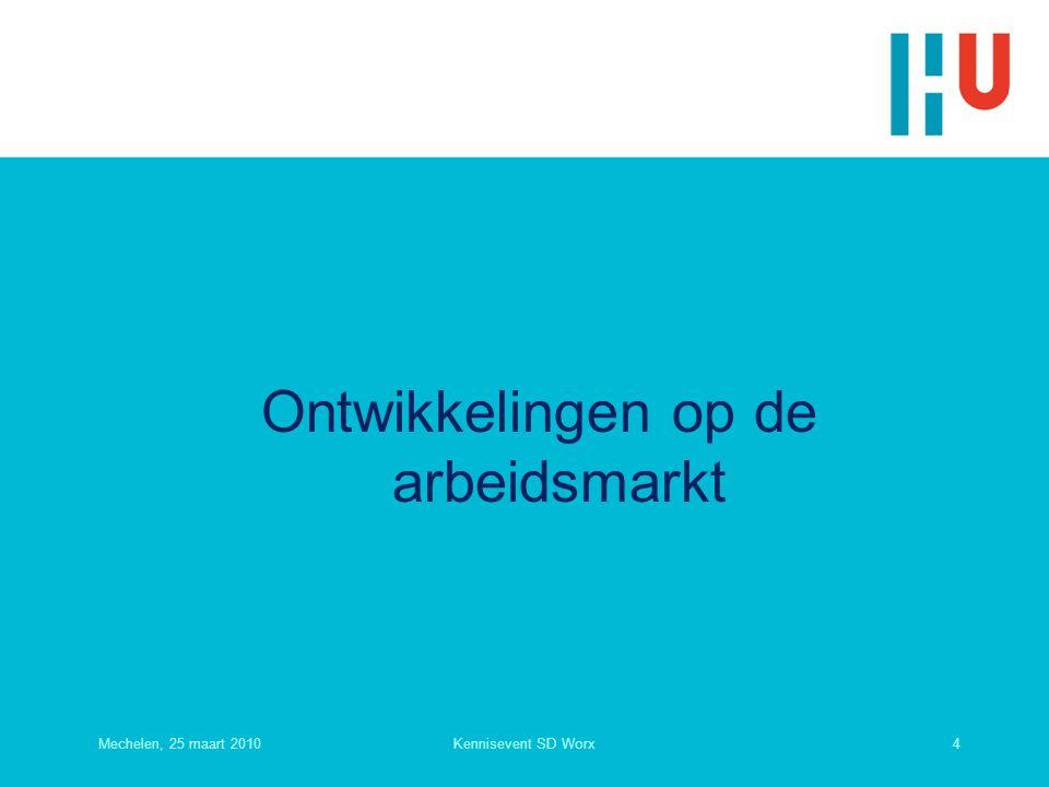 Ontwikkelingen op de arbeidsmarkt Mechelen, 25 maart 20104Kennisevent SD Worx