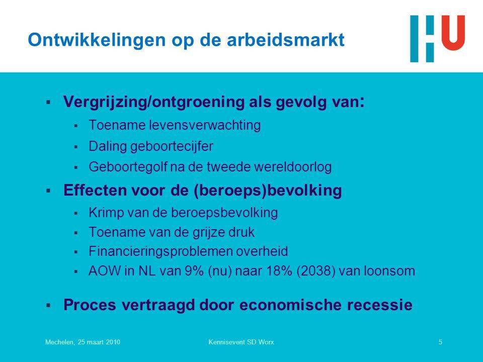 Ontwikkelingen op de arbeidsmarkt  Vergrijzing/ontgroening als gevolg van :  Toename levensverwachting  Daling geboortecijfer  Geboortegolf na de tweede wereldoorlog  Effecten voor de (beroeps)bevolking  Krimp van de beroepsbevolking  Toename van de grijze druk  Financieringsproblemen overheid  AOW in NL van 9% (nu) naar 18% (2038) van loonsom  Proces vertraagd door economische recessie Mechelen, 25 maart 20105Kennisevent SD Worx