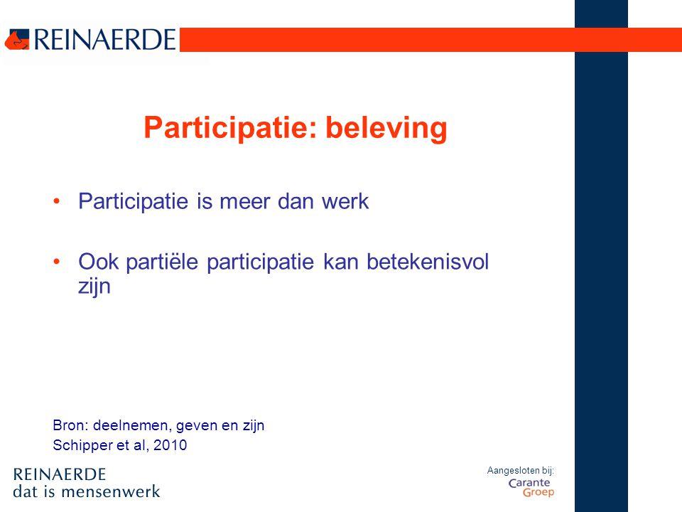 Aangesloten bij: Participatie: beleving Participatie is meer dan werk Ook partiële participatie kan betekenisvol zijn Bron: deelnemen, geven en zijn S