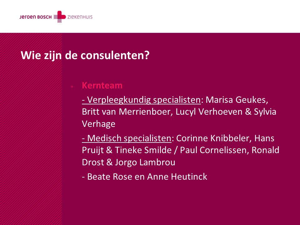 Wie zijn de consulenten? + Kernteam - Verpleegkundig specialisten: Marisa Geukes, Britt van Merrienboer, Lucyl Verhoeven & Sylvia Verhage - Medisch sp