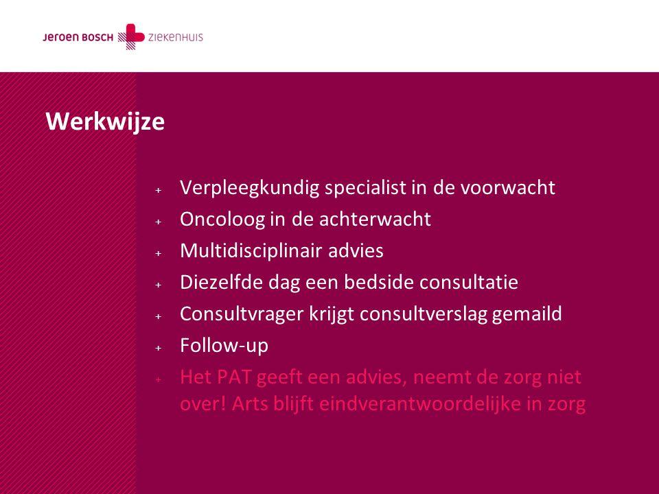 Werkwijze + Verpleegkundig specialist in de voorwacht + Oncoloog in de achterwacht + Multidisciplinair advies + Diezelfde dag een bedside consultatie