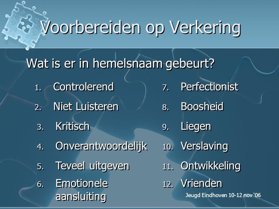Jeugd Eindhoven 10-12 nov '06 Voorbereiden op Verkering Wat is er in hemelsnaam gebeurt? 1. Controlerend 2. Niet Luisteren 3. Kritisch 4. Onverantwoor