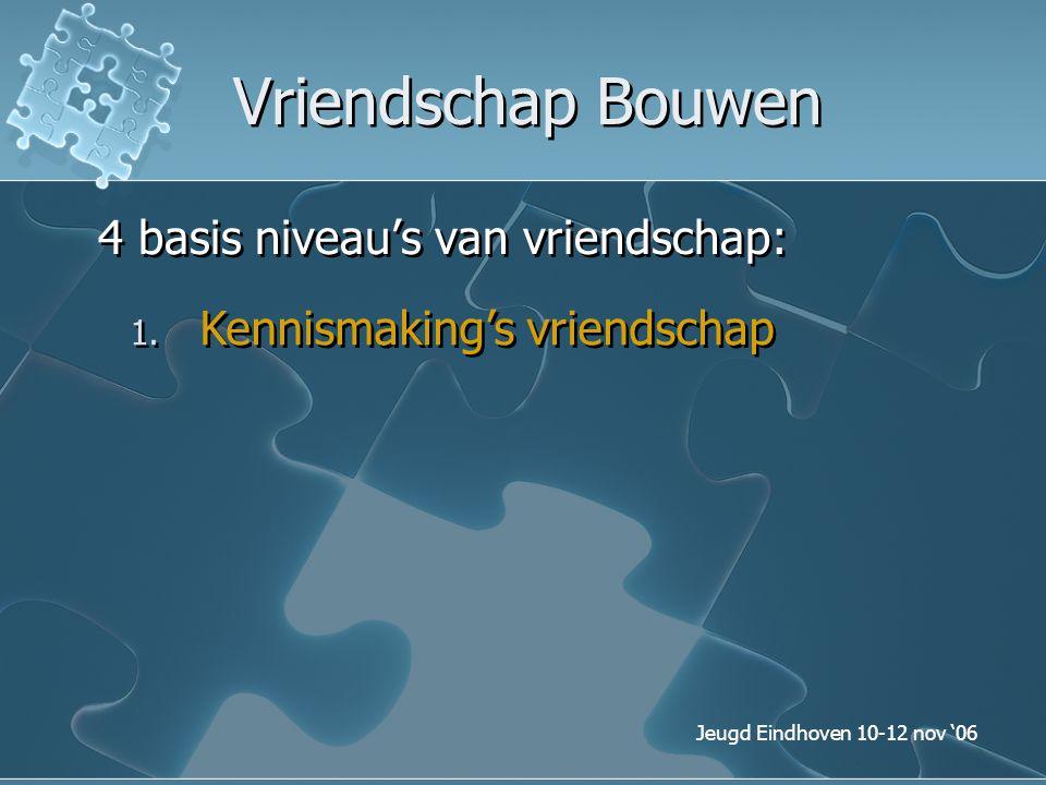 Jeugd Eindhoven 10-12 nov '06 Vriendschap Bouwen 4 basis niveau's van vriendschap: 1. Kennismaking's vriendschap