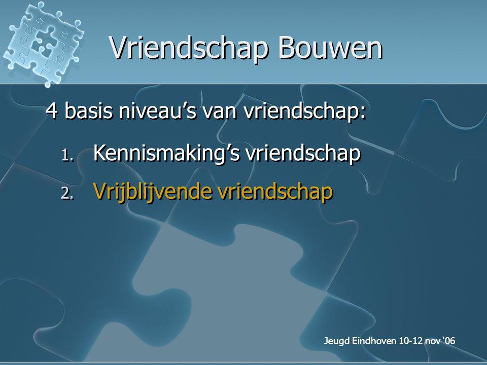 Jeugd Eindhoven 10-12 nov '06 Vriendschap Bouwen 4 basis niveau's van vriendschap: 1. Kennismaking's vriendschap 2. Vrijblijvende vriendschap
