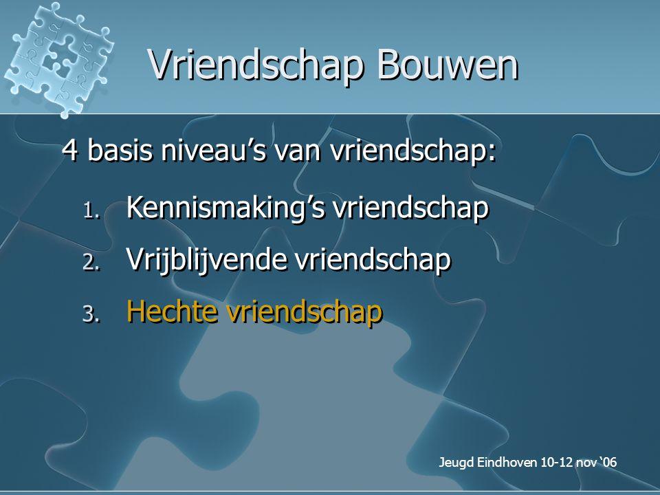 Jeugd Eindhoven 10-12 nov '06 Vriendschap Bouwen 4 basis niveau's van vriendschap: 1. Kennismaking's vriendschap 3. Hechte vriendschap 2. Vrijblijvend