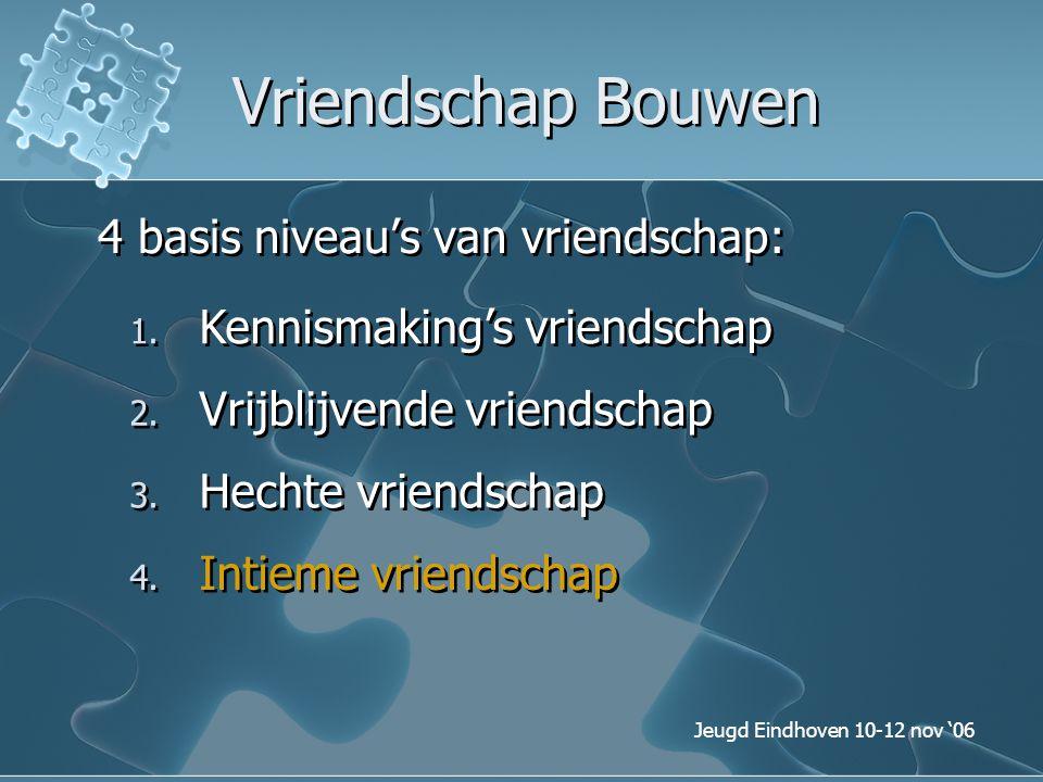 Jeugd Eindhoven 10-12 nov '06 Vriendschap Bouwen 4 basis niveau's van vriendschap: 1. Kennismaking's vriendschap 3. Hechte vriendschap 4. Intieme vrie