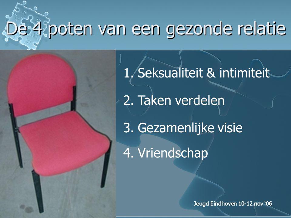 Jeugd Eindhoven 10-12 nov '06 De 4 poten van een gezonde relatie 1.Seksualiteit & intimiteit 2.Taken verdelen 3.Gezamenlijke visie 4.Vriendschap