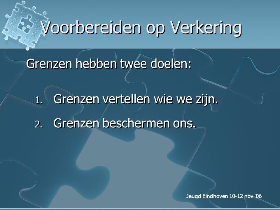 Jeugd Eindhoven 10-12 nov '06 Voorbereiden op Verkering Grenzen hebben twee doelen: 1. Grenzen vertellen wie we zijn. 2. Grenzen beschermen ons.