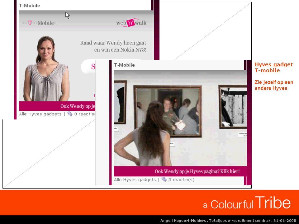Angeli Hagoort-Mulders. Totaljobs e-recruitment seminar. 31-01-2008 Hyves gadget T-mobile Zie jezelf op een andere Hyves