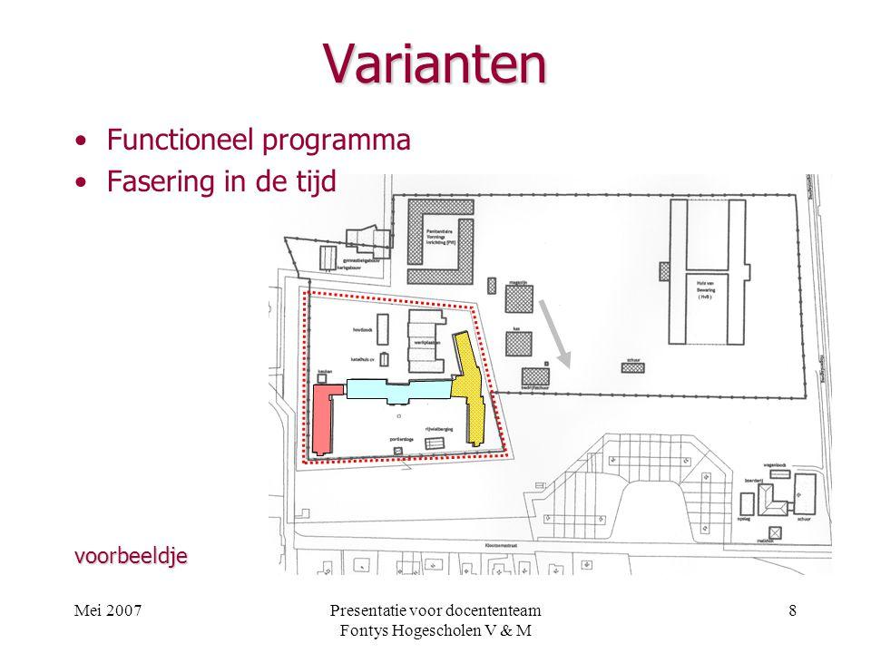 Mei 2007Presentatie voor docententeam Fontys Hogescholen V & M 8 Varianten Functioneel programma Fasering in de tijd voorbeeldje