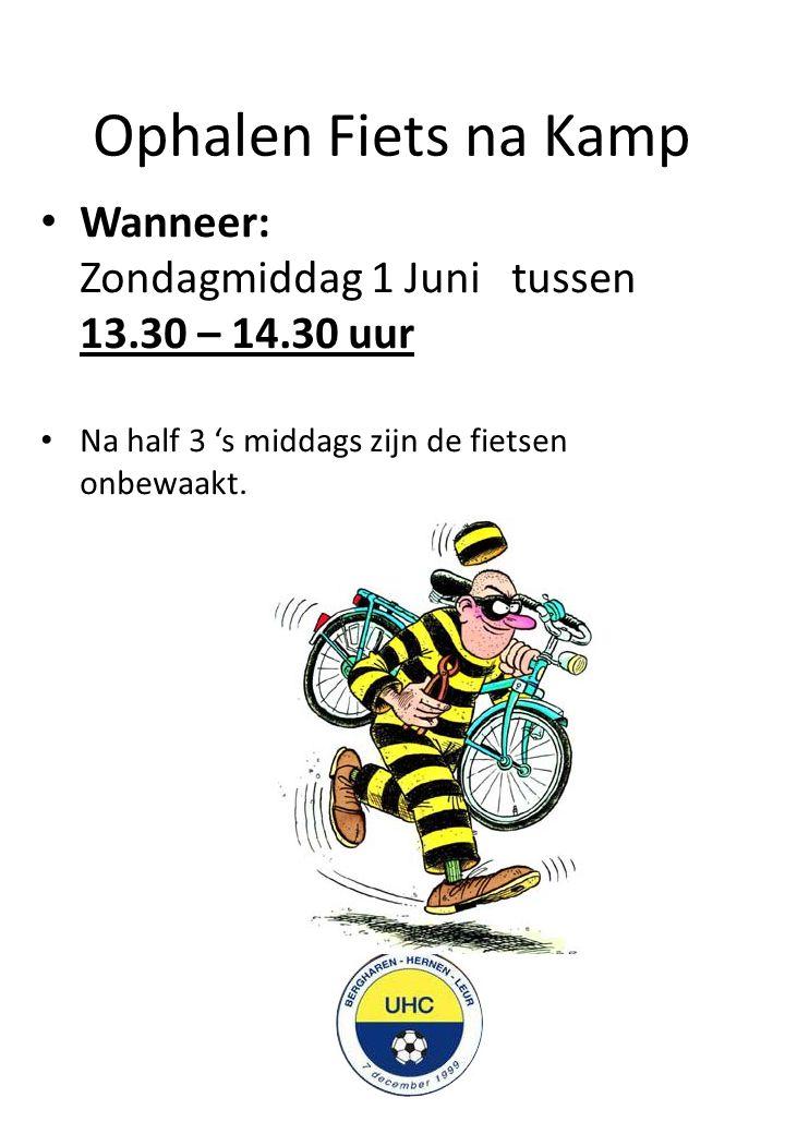 Ophalen Fiets na Kamp Wanneer: Zondagmiddag 1 Juni tussen 13.30 – 14.30 uur Na half 3 's middags zijn de fietsen onbewaakt.