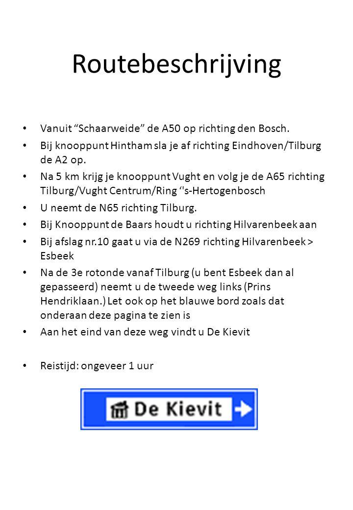 """Routebeschrijving Vanuit """"Schaarweide"""" de A50 op richting den Bosch. Bij knooppunt Hintham sla je af richting Eindhoven/Tilburg de A2 op. Na 5 km krij"""