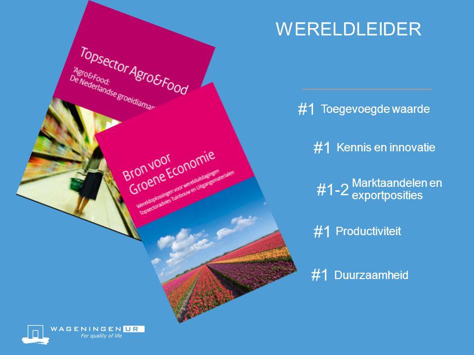 WERELDLEIDER #1 Kennis en innovatie #1-2 Marktaandelen en exportposities #1 Productiviteit #1 Duurzaamheid #1 Toegevoegde waarde