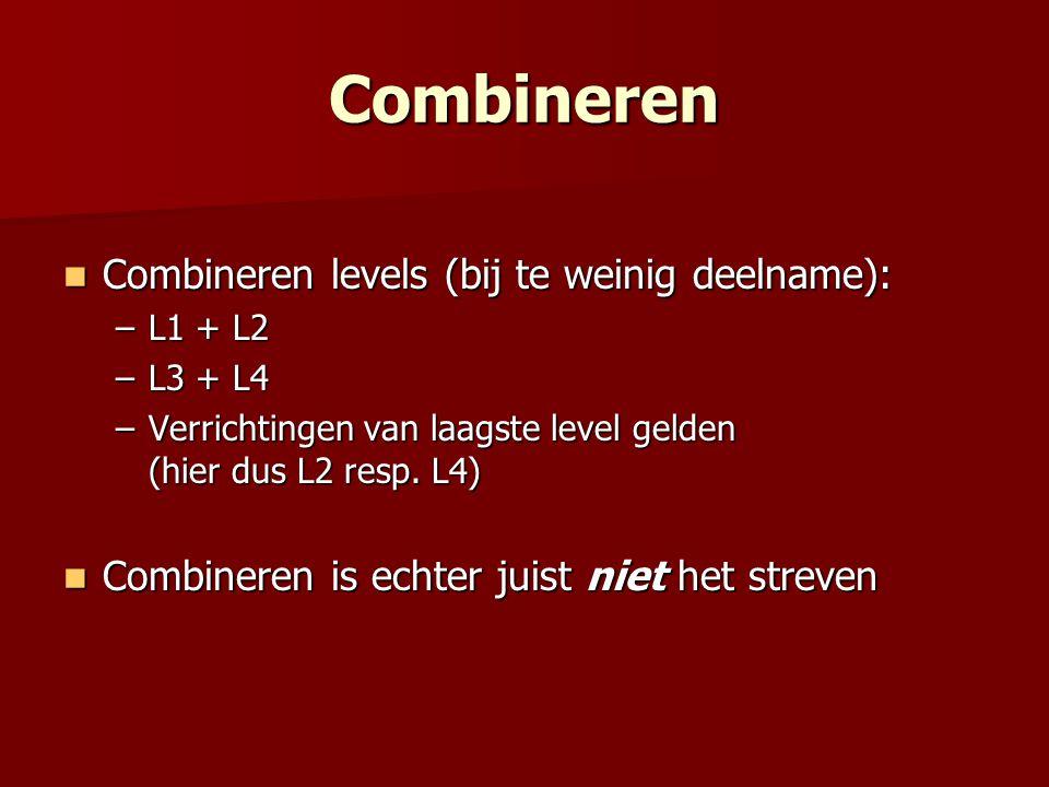 Combineren Combineren levels (bij te weinig deelname): Combineren levels (bij te weinig deelname): –L1 + L2 –L3 + L4 –Verrichtingen van laagste level gelden (hier dus L2 resp.
