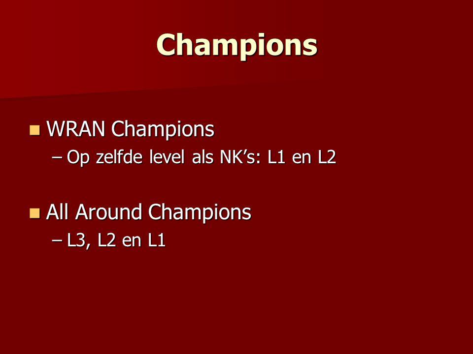 Champions WRAN Champions WRAN Champions –Op zelfde level als NK's: L1 en L2 All Around Champions All Around Champions –L3, L2 en L1