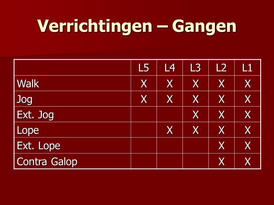 Verrichtingen – Gangen L5L4L3L2L1 WalkXXXXX JogXXXXX Ext.