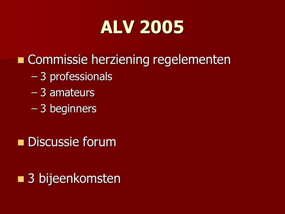 ALV 2005 Commissie herziening regelementen Commissie herziening regelementen –3 professionals –3 amateurs –3 beginners Discussie forum Discussie forum 3 bijeenkomsten 3 bijeenkomsten