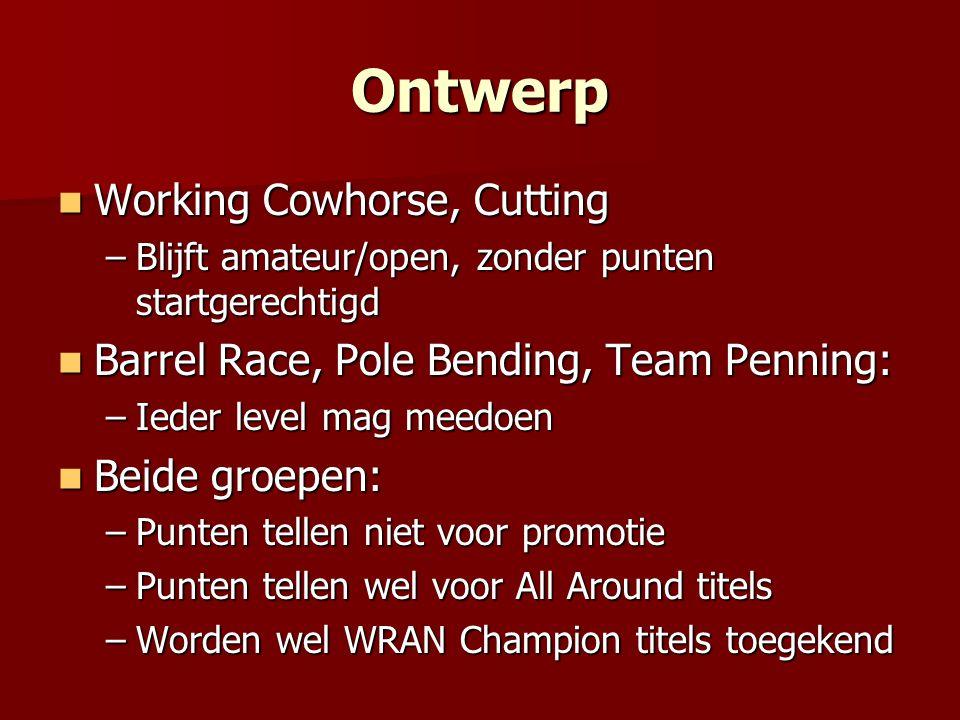 Ontwerp Working Cowhorse, Cutting Working Cowhorse, Cutting –Blijft amateur/open, zonder punten startgerechtigd Barrel Race, Pole Bending, Team Pennin