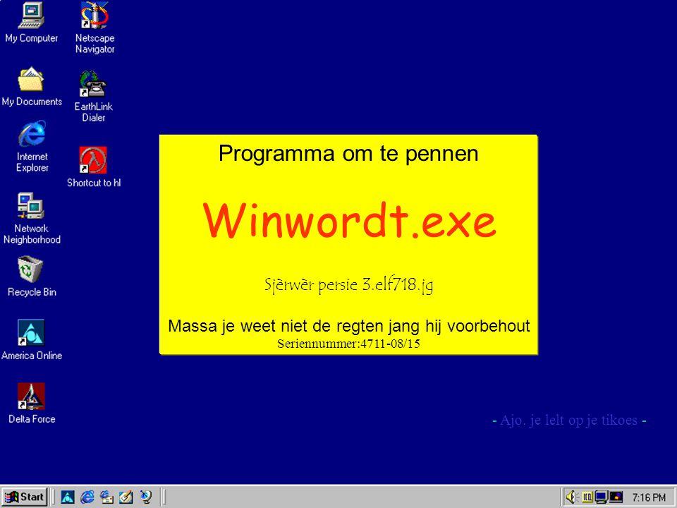 Programma om te pennen Winwordt.exe Sjèrwèr persie 3.elf718.jg Massa je weet niet de regten jang hij voorbehout Seriennummer:4711-08/15 - Ajo.